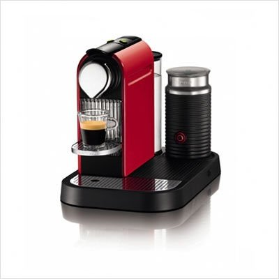 Nespresso C120-US-RE-NE CitiZ Automatic Single Server Espresso Maker and Milk Frother, Fire-Engine Red