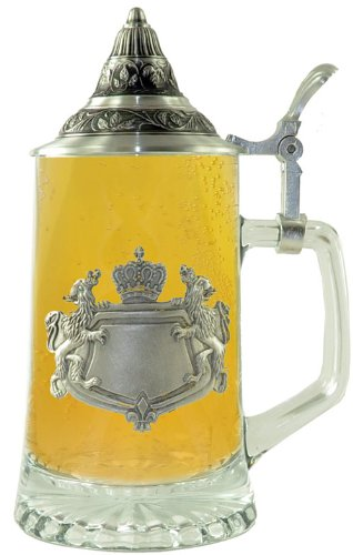 0.4 Liter Glass Stein with Engravable Pewter Badge &#038; Conical Lid