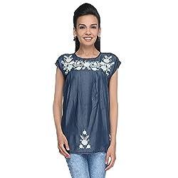 Again? Vintage Dark Blue Lyocell Tunics for Women