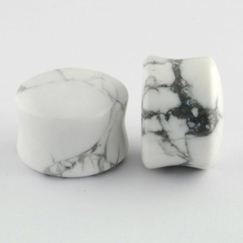 Pair of Howlite Stone Double Flared Domed Plugs: 5/8