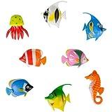 Pack of 8 - Colourful Assorted Artificial Plastic Bubble Lamp Aquarium Tropical Fish / Jellyfish & Seahorse
