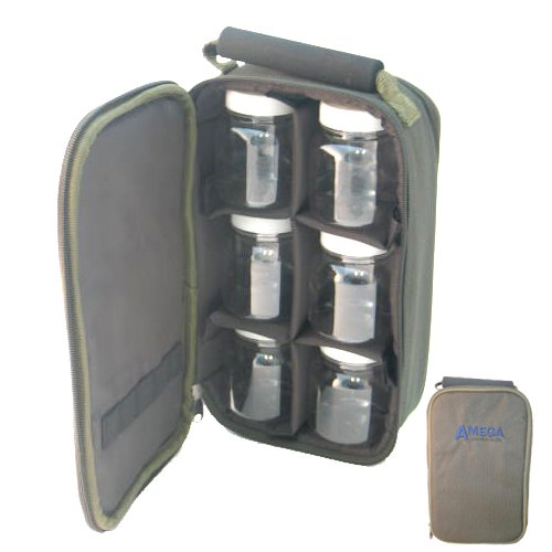 carry case  6 bait glug pots carp coarse fishing