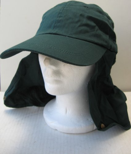 Dark Green Legionnaire Neck Cover Hat - Elastic Fitting - One Size Fits All - 100% Cotton - 50 UPF - Great gift for outdoor activities like snowboarding, skiing, gardening, hiking, and more - Black Friday