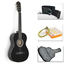 38 Black Acoustic Guitar Starter Package (Guitar Gig Bag Strap Pick)