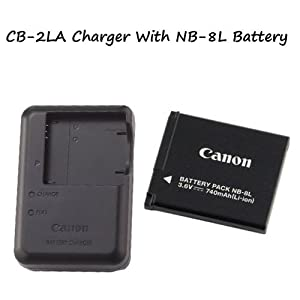 CB-2LA Battery Charger + NB-8L Battery For Cameras....PowerShot A2200 PowerShot A3000 IS PowerShot A3100 IS PowerShot A3300 IS