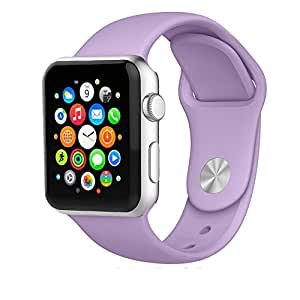 iMiWell Soft Silicone Fitness Replacement Sport Band for Apple Watch - 42mm - Lavender - 3 Pieces of Bands Included for 2 Lengths
