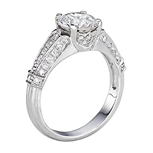 GIA Certified 14k white-gold Round Cut Diamond Engagement Ring (1.55 cttw, F Color, VS1 Clarity)