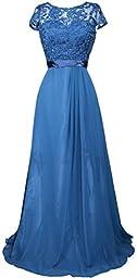 Meier Women\'s Short Sleeve Embroidery Rhinestone Mother of Bride Evening Dress Teal-XXL