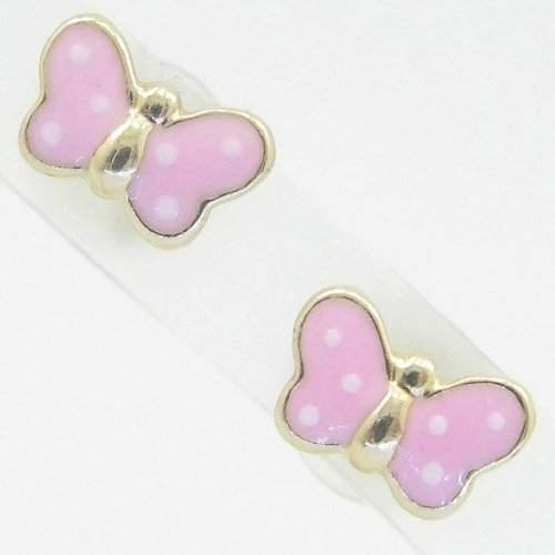 Ladies 14K solid gold earrings fancy stud hoop huggie ball fashion dangle swag pink small polkadot butterfly earrings
