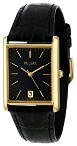Pulsar Men's PXDA80 Gold-Tone Stainless Steel Black Leather Strap Watch