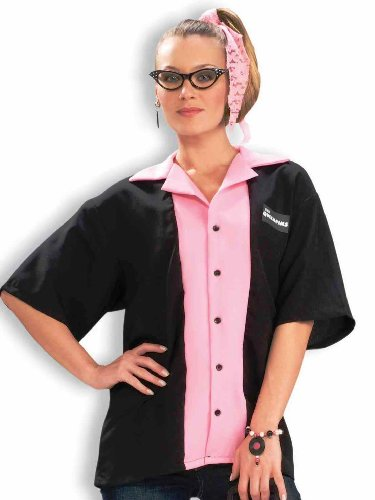 Forum Novelties Women's Flirting with The 50's Queen Pinks Bowling Shirt Costume