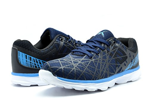 KINETIC 141016 Men's Fun Print Fashion Sneakers Light Weight Go Walk Lace Up Mesh Upper Training Shoes Navy-Black-Blue Size 7.5