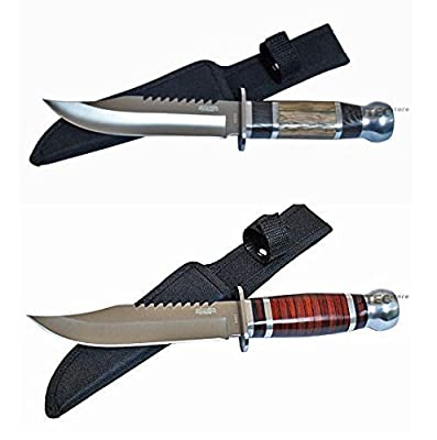 Survival Cherry Wood Hunting Bowie Knife 10.5 Inch Fixed Blade with Sheath Jwd28 from Defender