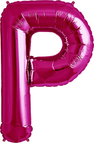 Letter P - Magenta Helium Foil Balloon - 34 inch