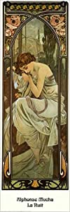 Art Print, La Nuit, 1899 by Alphonse Maria Mucha, Final Size: 11.75 in X 35.5 in.