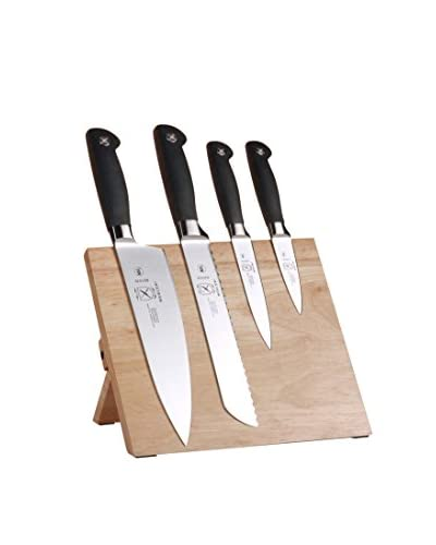 Mercer Culinary 5-Piece Genesis Knife & Magnetic Rubberwood Board Set