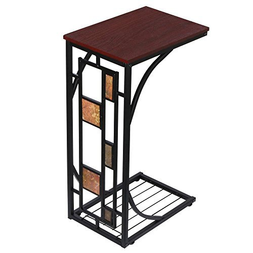 Yaheetech Sofa, Chair & Couch Side End Table - Wood Top for Drinks, TV Remote, Books & Snacks Brown (Pedestal Table With Chairs compare prices)