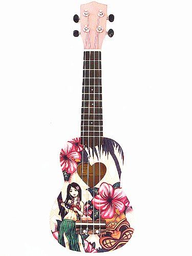 Woodnote Cute Pink with Hawaii Girl of Pattern - 21' Wooden Soprano Ukulele & Carrying Bag