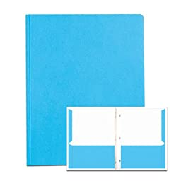 Roaring Spring Embossed 2-Pocket Folders with Prongs. 25/box. Lt Blue only