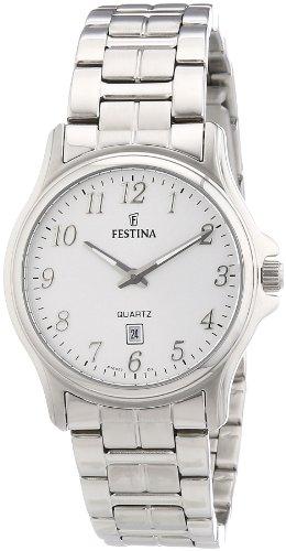 Festina F16474/2 - Reloj analógico de cuarzo para mujer con correa de acero inoxidable, color plateado