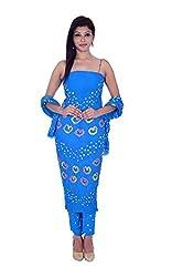 Apratim Women's Cotton Unstitched Dress Material (Blue)