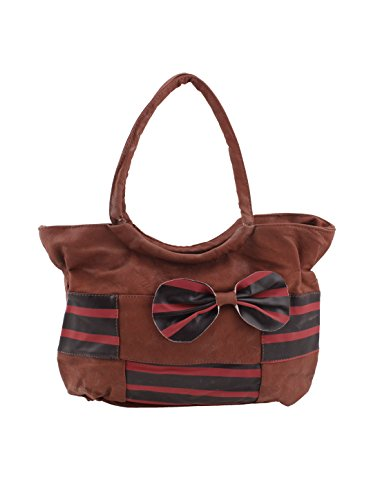 Faux Leather Women Bow-Knot Design Stripe Pattern Zipper Handbag Brown