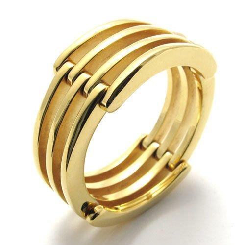 (キチシュウ)Aooazジュエリー メンズステンレスリング指輪 スムーズ多層のデザイン ゴールド 高品質のアクセサリー 日本サイズ17号(USサイズ8号)
