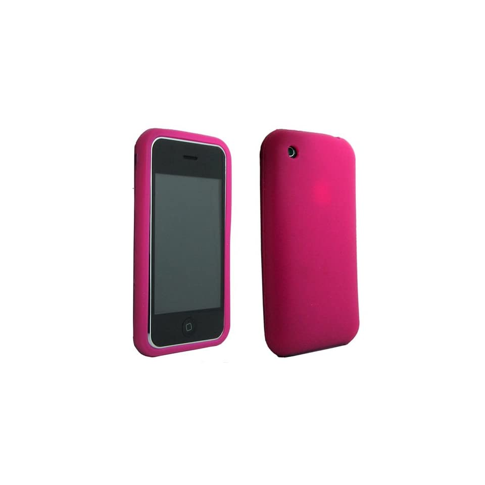 Premium Hot Pink Silicone Soft Skin Case Cover for iPhone 3G 3GS
