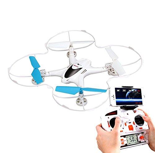【空からの眺めを 撮影& iPhone で 生中継 可能】 4ch クアッドコプター カメラ 付 装備 動画 WIFI 3D ラジコン RC 【 コントローラー 付き】 【 ホワイト 】