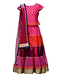 Peaches Girls' Lehenga Choli (L-MLP_Mauve_13-14 Years)