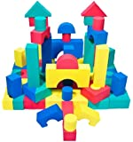 Non-Toxic 68 Piece foam Wonder Blocks for Children w/ Carry Tote - Non-Recycled Quality, Waterproof, Soft, Bright, Safe & Quiet