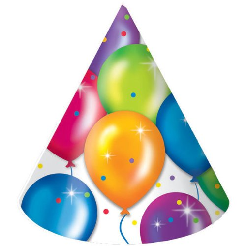 Birthday Balloons Party Hats (8ct) - 1