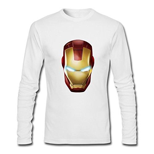 Mens Iron Man Mask Long Sleeve Tees Shirts Tshirt Medium White