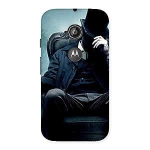 Impressive Sitting Hat Man Back Case Cover for Moto E 2nd Gen