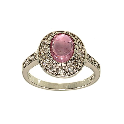 Refined Oval Engagement Style Fashion Ring in Cabachon Pink Cubic Zirconia Size 6