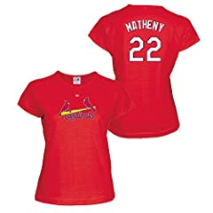 Mike Matheny St Louis Cardinals Red Ladies Player T-Shirt by Majestic by Majestic