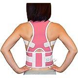 EBP Medical New Fully Adjustable Back Brace Belt for Posture Correction and Back Pain Support - Neoprene (Medium, Pink)