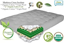 "Hot Sale THE FUTON SHOP 9"" COMFORT REST ORGANIC DOUBLE SIZE COTTON/WOOL/LATEX MATTRESS"