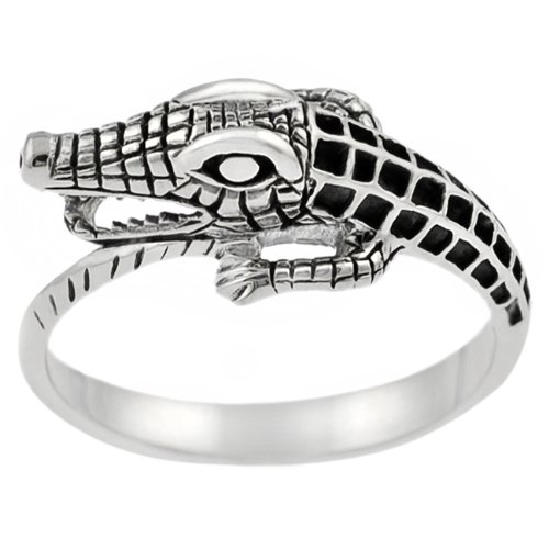 Sterling Silver Men's Alligator Ring