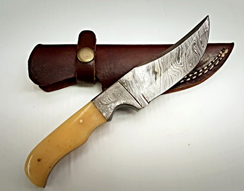 Camel Bone 100% Handmade Damascus Steel Fixed Blade Hunting Knife Prime Quality Blade With Leather Case/ Full Tang