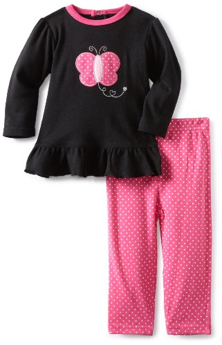 Bon Bebe Baby-Girls Infant Butterfly 2 Piece Pant Set, Strawberry/Black, 12 Months front-1063120