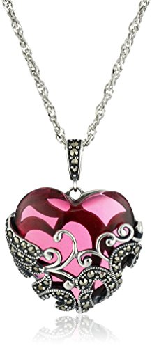 Sterling Silver Oxidized Marcasite and Garnet-Colored Glass Heart with Filigree Pendant Necklace, 18""