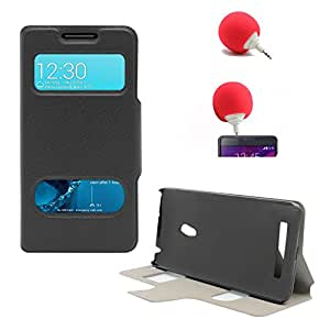 DMG Sview Call Case Vip for Asus Zenfone 5 (Black) + 3.5mm Audio Dock Sponge Speaker
