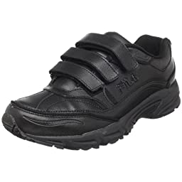 Fila Men\'s Comfort Trainer Velcro Sneaker,Black/Black/Metallic Silver,10 M US