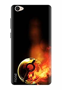 Noise Designer Printed Case / Cover for Vivo Y55L / Animated Cartoons / Fire In Pokeball Design