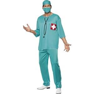 Arztkostüm Kostüm Arzt Krankenpfleger OP Kittel Gr. 48/50 (M), 52/54 (L), Größe:M