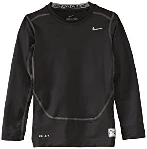 Nike Boy's Core Compression Long Sleeve Top - Black/Cool Grey, X-Small