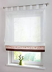 Uphome 1pc Embroidered Floral Stitching Color White Sheer Roman Window Curtains - Tab Top Tulle Roman Kitchen Curtain,47 x 61 Inch,Coffee