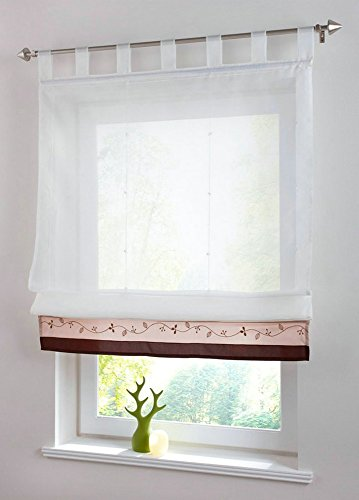 Uphome 1pc Embroidered Floral Stitching Color White Sheer Roman Window Curtains - Tab Top Tulle Roman Kitchen Curtain,24 x 61 (Window Treatment Ideas)