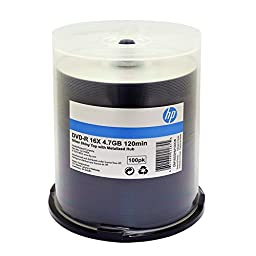 HP DVD-R 16X 4.7GB SILVER SHINY METALIZED HUB 100PK C/B